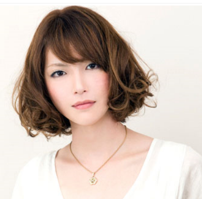 Asian With Curly Bob Hairstyle With Long Side Bangs Png