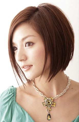 Cute Haircuts on Asian Bob Hairstyle With Long Side Bang Jpg