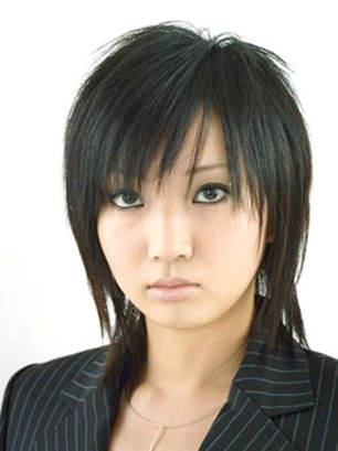 Asian layered hairstyle with long side