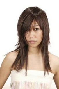 Asian Straight Layered Hair With Side Bangs Asian Long Laye...