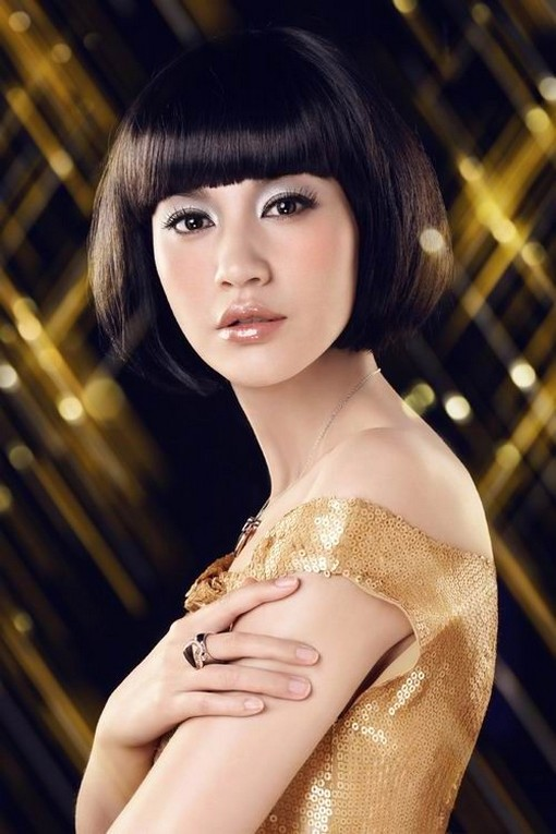 Asian short bob hairstyle with long
