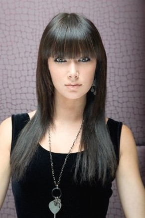 Asian straight hairstyle with bang.jpg photo