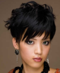 Asian updo hairstyle with layered long swept bangs