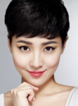 Asian women very short hairstyle with long bangs