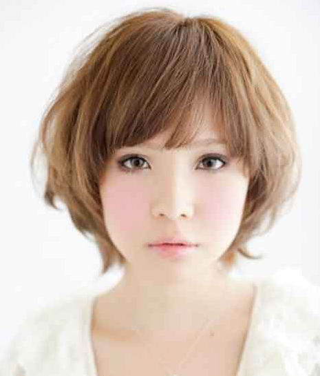 Cute Asian Girl Hairstyle With Layers And Long Straight Bang With Medium Short Hair Length
