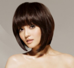 Cute Asian modern bob haircut with long bang