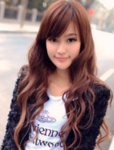 Popular long Asian women hairstyles with long curly hair with straight hair on the top and straight long bangs