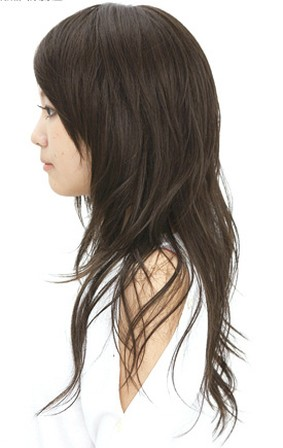 Asian Straight Layered Hair With Side Bangs Long Layered As...