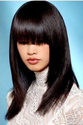 woman sexy hair style with cute long bangs in layers