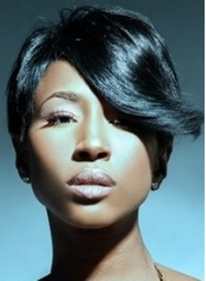 Superb African American Razor Cut Hairstyle With Long Swept Bang Png Short Hairstyles Gunalazisus