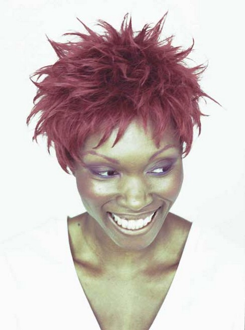 African American woman with red spiky hairstyle.jpg photo