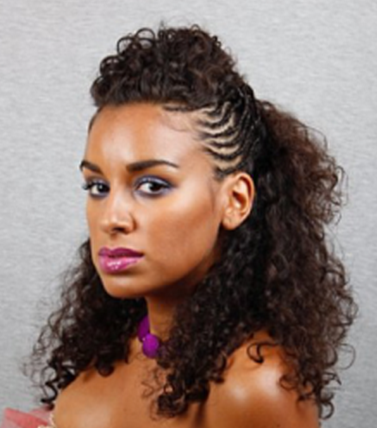 African American women long curly braided nautral hairstyle picture