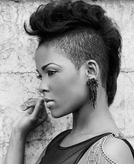 Black women punk hairstyle with cool short undercut hair