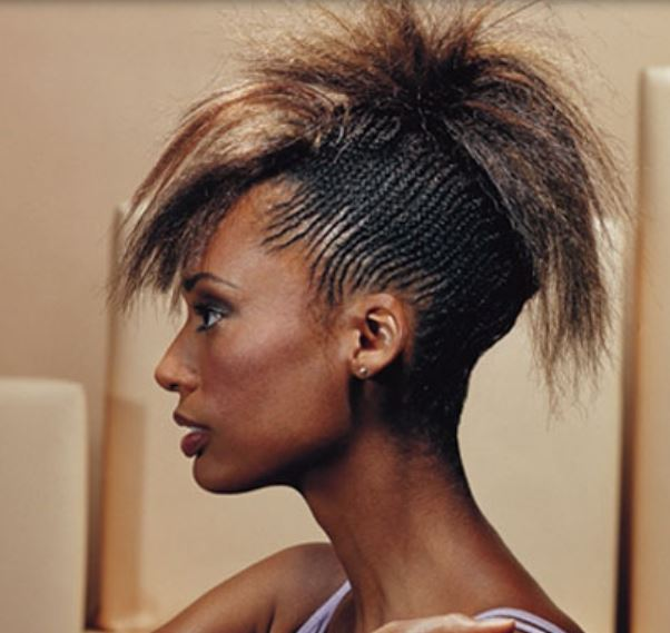 Black women undercut hairstyle with highlights and layers
