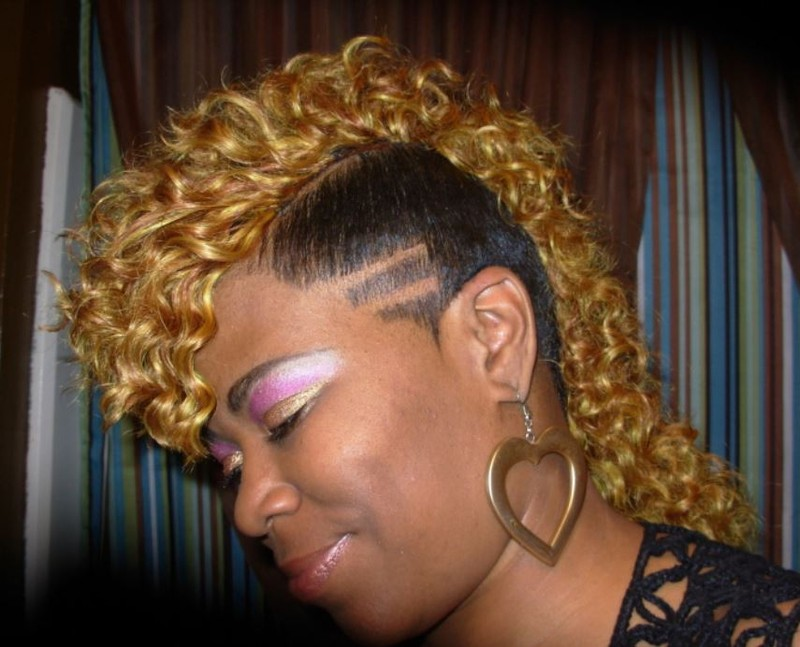 Curly undercut mohawk with curls