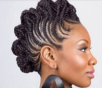 Natural African American braided hairstyle