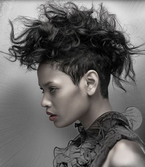 Newest black women curly mohawk with messy wild style