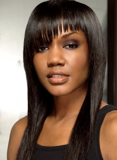 Straight black women hairstyle with long bangs with layers picture
