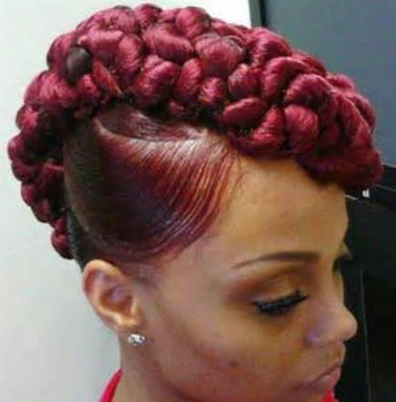 Unique black women hairstyle with red hair color