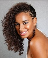 long curly hair with small braids