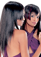 Long hair style with an interesting front, bangs with a unique style, two tone, black and burgundy