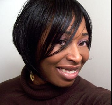 very short african american hairstyle with long side bangs