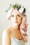 Pink wedding hair with fresh flowers crown