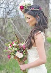 Unique winder bridal hairstyle  with long hair and braid and fresh flowers headband