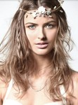 Winter wedding hairstyle with floral headband with braids and waves