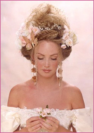 Bride Updo Hairstyle With Flowers Blond Vintage Bridal Hairstyle