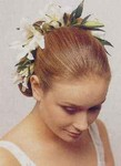 Bridal updo hairstyle with fresh flowers, two tone
