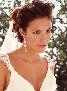 Tremendous Bride Updo Hairstyle Big Soft Curls With Veil Brunette Hairstyles For Men Maxibearus