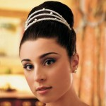 Bridal hairstyle, on roll with headpiece, black