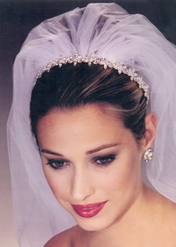Bride Updo Hairstyle With Headpiece And Veil Two Tones