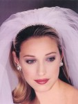 Bride hairstyle with headpiece and veil, two tone