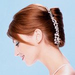 Bride hairstyle with side bang and clip, red hair_bridal hairstyles pictures