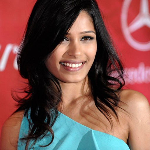 sexy hairstyle. Freida Pinto with sexy