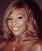 Hot female American tennis player Serena Williams with layered hairstyle with side bangs