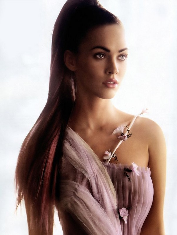 Image of Megan Fox with cool celebrity high updo with pink high lights.JPG