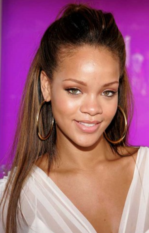 Images Of Rihanna With Half Updo Png
