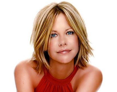 Meg Ryan with medium short blonde haircut with layers and long side bangs picture.JPG