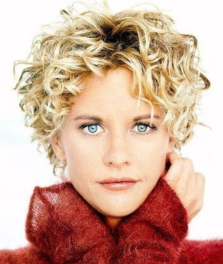 Meg Ryan with short curl hairstyle with long curly bang picture