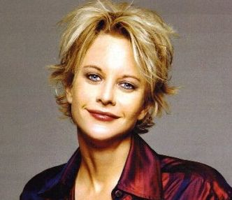 meg ryan with short haicut with layers and long side bangs