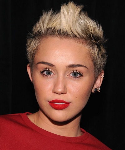 Miley Cyrus With Her Spiky Hairstyleg