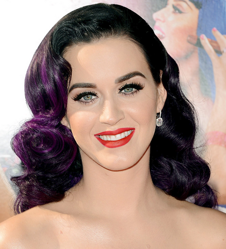 Pics Of Katy Perry With Big Curly Hairstyle With Black