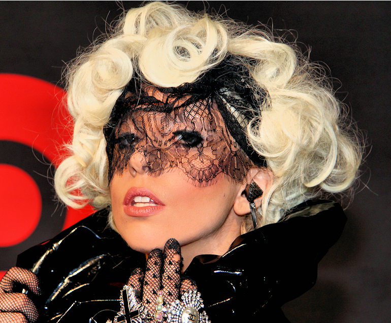 Picture of Lady Gaga with her curly hairstyle.