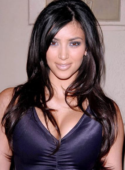 Young Kim Kardashian Her Straight Layered Long