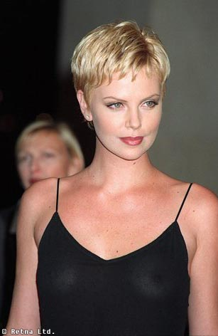 Charlize Theron With Very Short Hair, Layers, Blonde