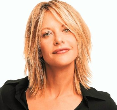 medium hair Meg Ryan with extreme layers and long side bangs.