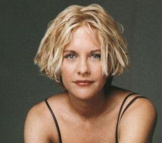 of young actress Meg Ryan with very short bob hairstyle with long side